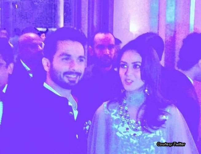 Shahid Kapoor and Mira Rajput at their wedding reception