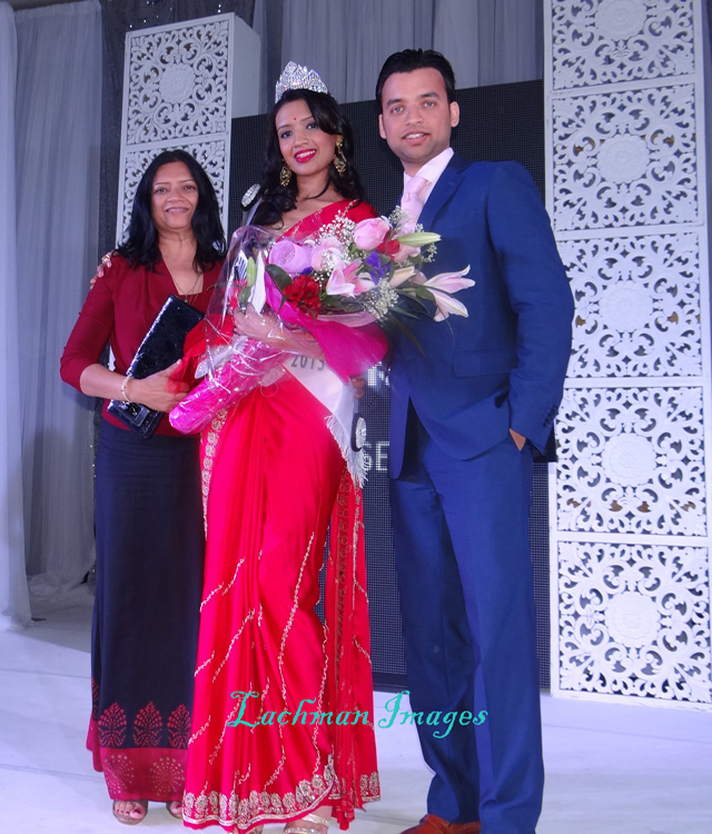 New Miss India-Canada Manasvi Noel with her family.
