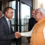 Indo-Canada Chamber of Coomerce president Sanjay Makkar welcoming Haryana CM Manoharlal Khattar in Toronto in August.
