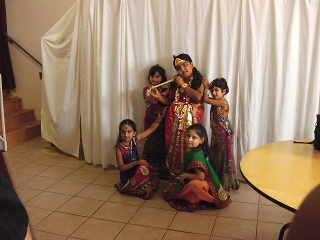 Children at Janmashtami in Hindu Samaj Temple of Hamilton
