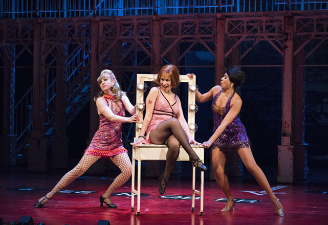 Melanie Phillipson as Helene, and Kimberley Rampersad as Nickie in Sweet Charity. Photo by Emily Cooper.