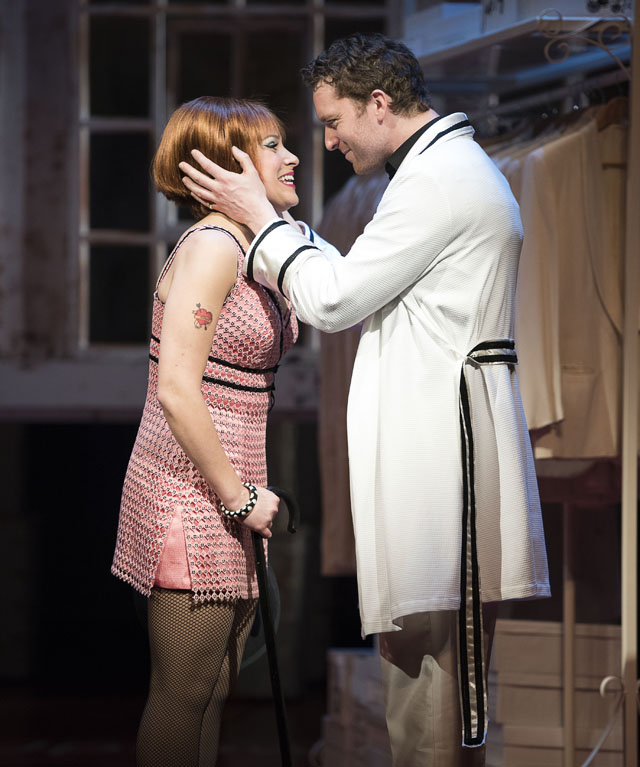 Julie Martell as Charity Valentine and Mark Uhre as Vittorio Vidal in Sweet Charity. Photo by David Cooper