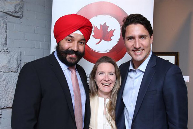 Navdeep Bains with Justin Trudeau