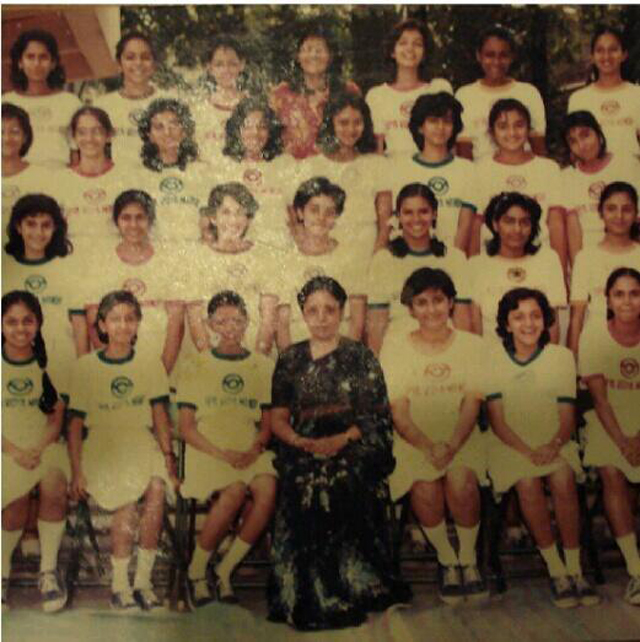 Aishwarya is third from right in the top row In this school photo