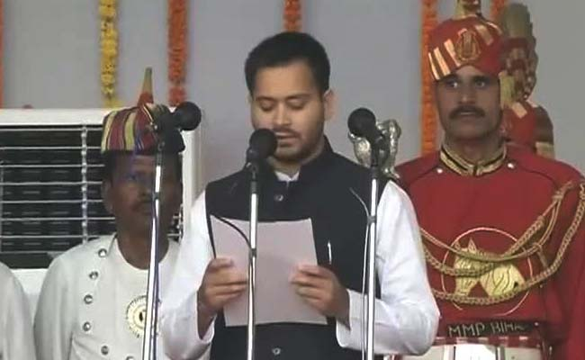 Ninth-standard fail Tejaswi Yadav, son of Lalu Yadav, takes oath as Bihar's deputy chief minister.
