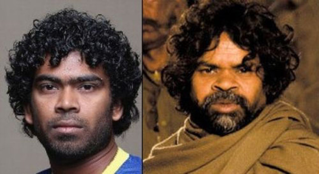Image result for Lasith Malinga and Bollywood actor Omkar Das Manikpuri