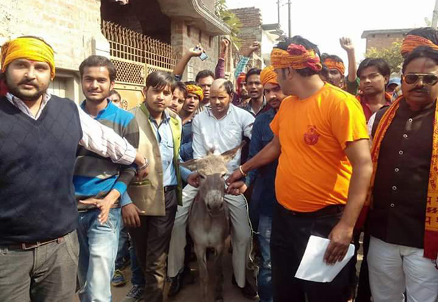 Bajrang Dal activists parading man on donkey for converting Hindus to Christianity