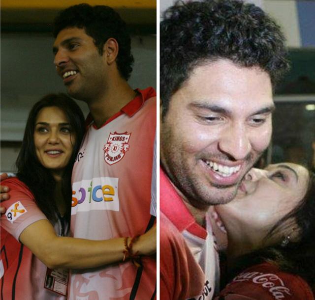 Preity Zinta hugs Yuvraj Singh