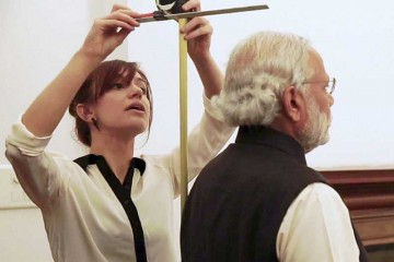 Modi gets ready for his wax statue at Madame Tassauds.