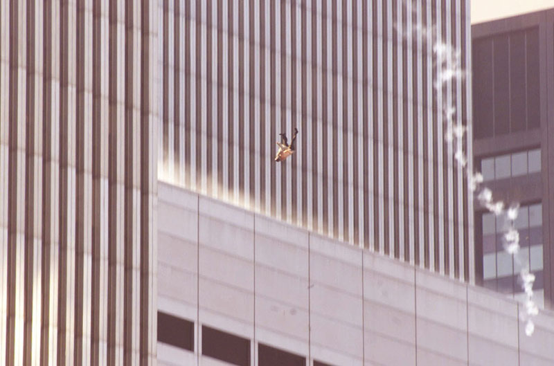 Shocking image of a man trying to survive after the 9/11 terror attacks.