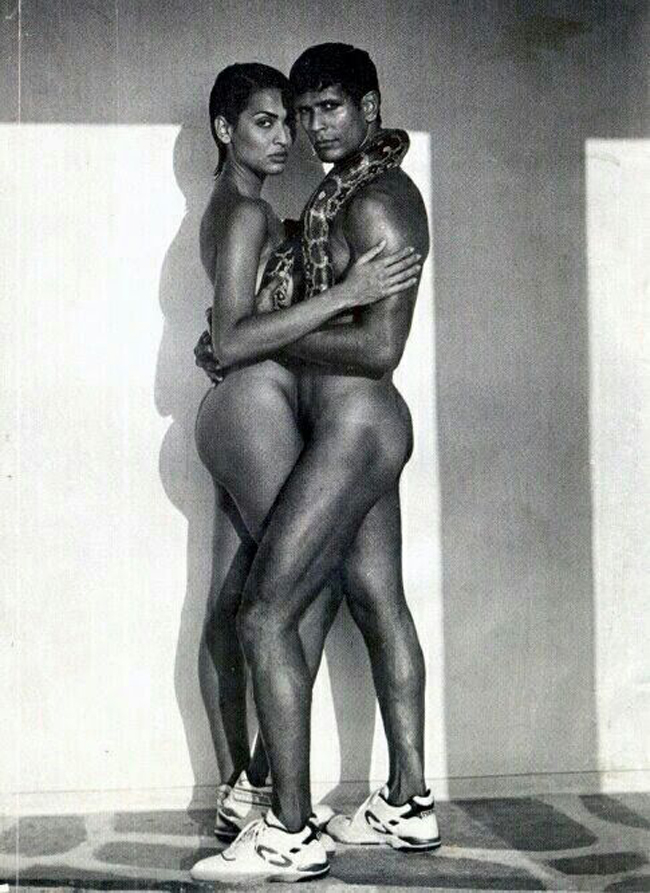 Model Madhu Sapre and her ten beau Milind Soman in the 1990s condom ad which caused uproar in India.