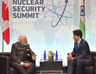Prime Minister Narendra Modi with Canadian Prime Minister Justin Trudeau on the sidelines of the Nuclear security Summit in Washington DC on April 1.