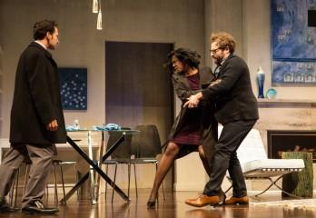 Raoul Bhaneja, Karen Glave and Michael Rubenfeld in DISGRACED. Photo Credit: Cylla von Tiedemann