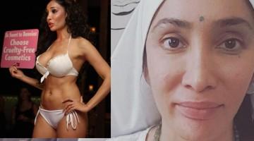 Sofia Hayat as a model (left) and nun now
