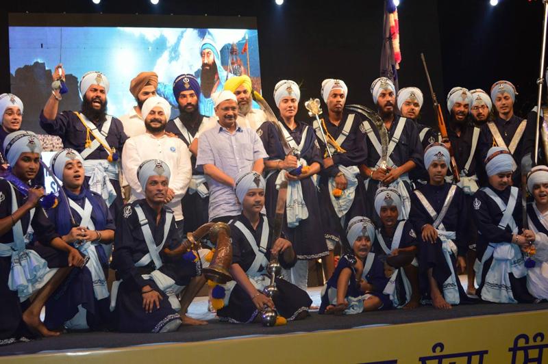 Delhi chief minister Arvind Kejriwal at an event on Sikh warrior Banda Singh Bahadur by Punjabi Academy Delhi