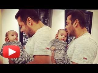 Salman Khan kissing his nephew Ahil