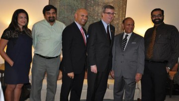 Group: From left - Mira Chatt, First Secretary (Political Affairs), Parthiban Muthukumarasamy, Counselor (Agriculture and Food); High Commissioner Nadir Patel, Mayor of Ottawa Jim Watson, The Indian Diaspora's Ajit Jain, and Nitin Verma, Counselor (Agriculture)