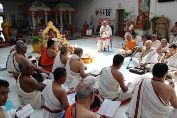 Hymn chanting at Sringeri temple on its sixth anniversary celebration opening ceremony.