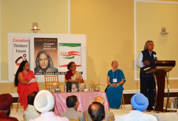 Ujjal Dosanjh speaks at the launch of his autobiography in Toronto. Photo Balraj Deol