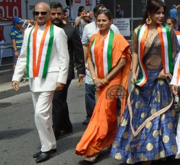 Bollywood actress Neetu Chandra (right) seen as Grand Parade Marshal at India Independence Day parade in Toronto on Aug 7. Indian consul general Dinesh Bhatia is on the left.