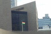 India flag fluttering at Toronto city hall