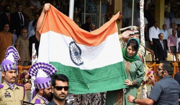Jammu and Kashmir chief minister Mehbooba Mufti with the Indian national flag.