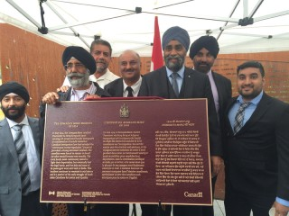 Canada's defence minister Harjit Sajjan unveiled the plaque to recognize the Komagata Maru Incident venue on Sunday in Vancouver.