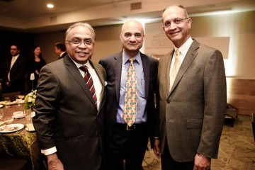 Deepak Ruparell (right) who has taken over as honorray consul general of Tanzania in Toronto, seen with Indian consul general Dinesh Bhatia (middle) and businessman Aditya Jha.