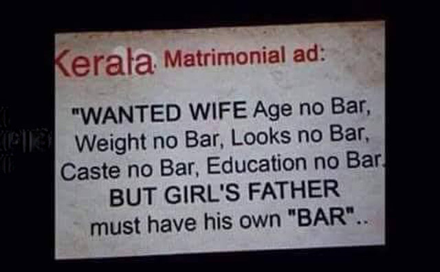 Funny matrimonial ad