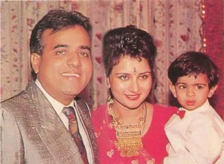 Poonam Dhillon with husband Ashok Thakeria and son Anmol