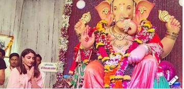 Soha Ali Khan praying to Lord Ganesha on Ganesh Chaturthi in Mumbai.