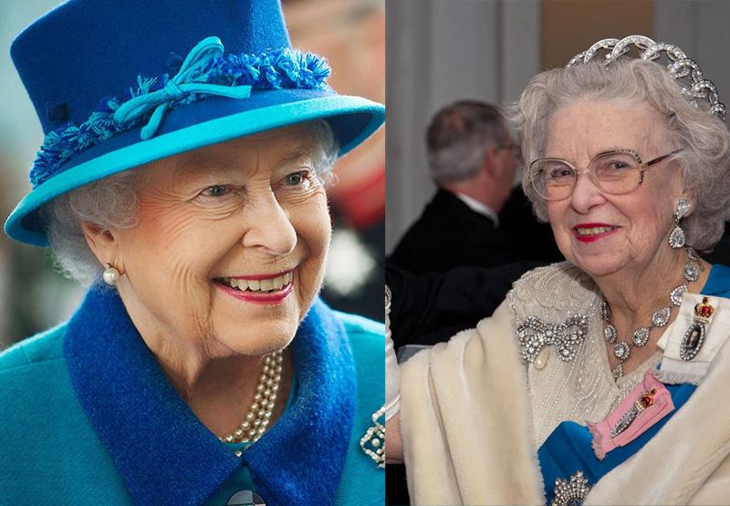 Queen Elizabeth (left) and her lookalike Elizabeth Richard