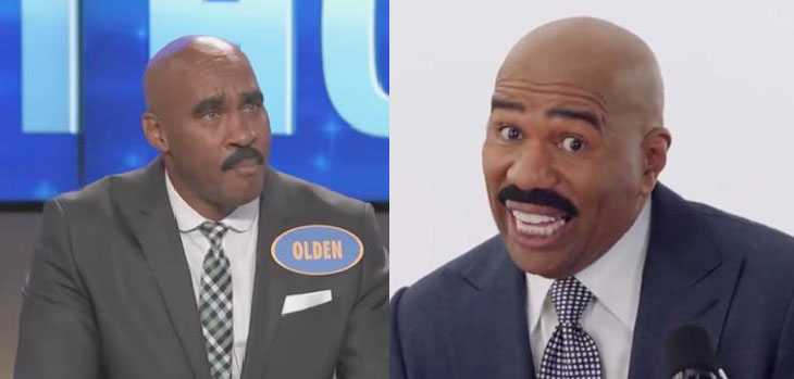 TV show host Steve Harvey (right) and his lookalike Olden Thornton who is a pastor from North Carolina.