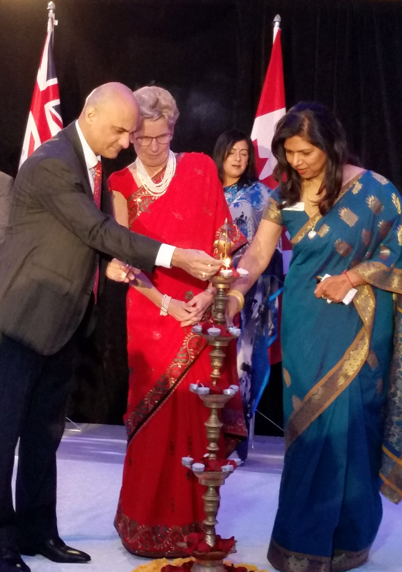 Indian consul general Dinesh Bhatia lighting the Diwali lamp. Photo by Dhruv Ghosh