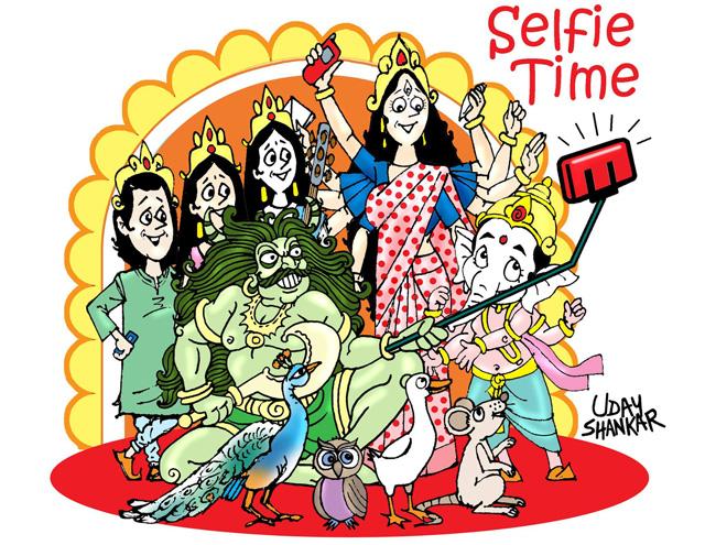 Durga puja selfie time for gods