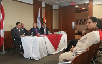From left: Akhil Tyagi, Dr Lucky Lakshamanan, Mr Ramesh Chotai and MPP Amrit Mangat at the press conference to announce the Canada-India Health Summit.