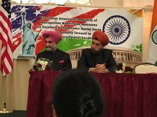 New Indian ambassador Navtej Sarna abd outgoing deputy mission chief Taranjit Sandhu at the reception.