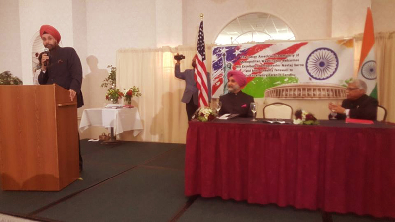 Navtej Sarna speaking at the event.