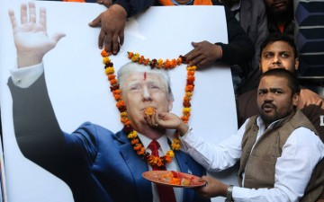 Donald Trump being coronated in Delhi