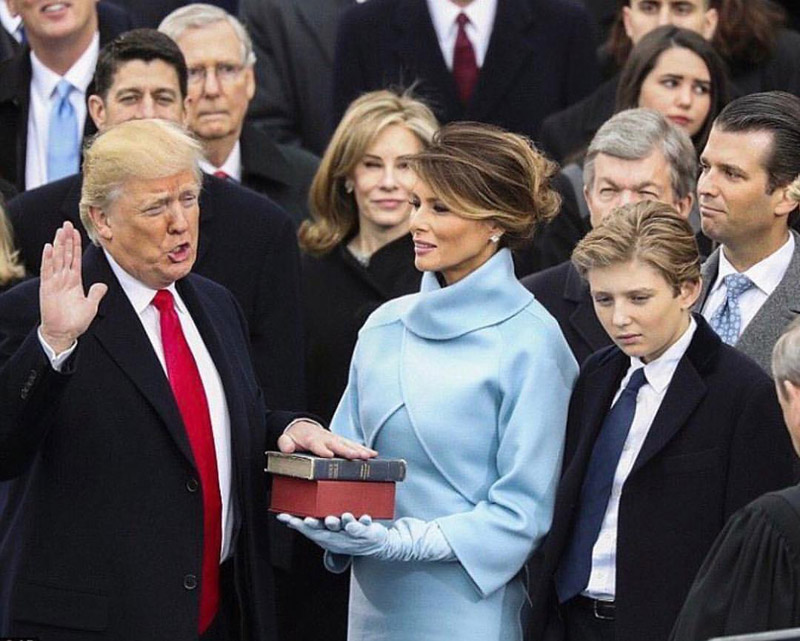 Donald Trump taking oath as the 45th president of America.