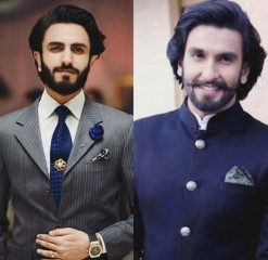 Hammad Shoaib (left) looks alike Bollywood star Ranveer Singh (right).