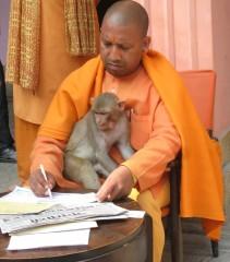 YOGI AND HIS MONKEY: Yogi Adityanath with his monkey.