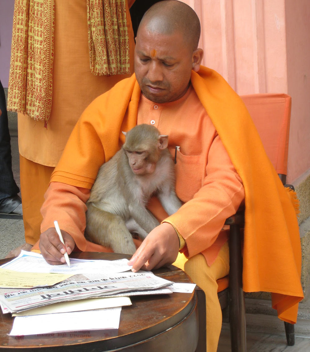 YOGI AND HIS MONKEY: Yogi Adityanath with his monkey.