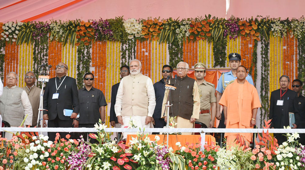 Prime Minister Narendra Modi at the swearing-in ceremony of Yogi Adityanath.