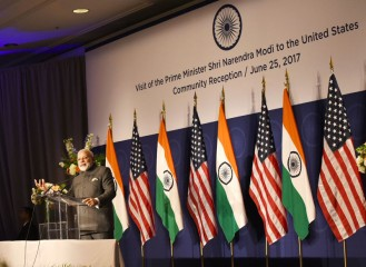 Prime Minister Narendra Modi speaking at the Indian American community reception on June 25.