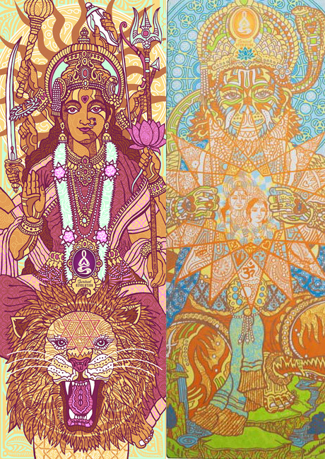 Durga and hanuman yoga mats